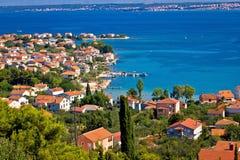 Ugljan五颜六色的海岸线海岛  免版税库存照片