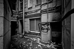 Ugly and abandoned porch. In black and white Royalty Free Stock Image