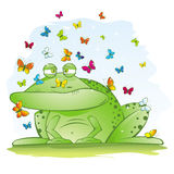 Ugly Big Frog with Beautiful Butterflies Royalty Free Stock Images