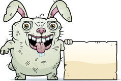 Ugly Bunny Sign. A cartoon illustration of an ugly bunny with a sign Stock Image