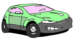 Ugly car. Hand drawn color ugly car Stock Photo