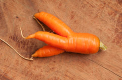 Ugly carrots, fresh produce. Farm fresh ugly carrots bent and twisted Stock Images