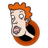 Ugly cartoon face Stock Image