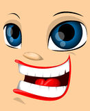 Ugly cartoon face Stock Image