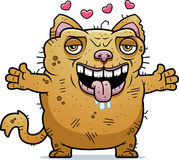 Ugly Cat Hug. A cartoon illustration of an ugly cat ready to give a hug Stock Photo