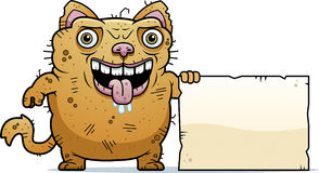 Ugly Cat Sign. A cartoon illustration of an ugly cat with a sign Royalty Free Stock Photography