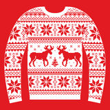 Ugly Christmas jumper or sweater with reindeer and snowflakes and pattern Royalty Free Stock Photography