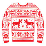 Ugly Christmas jumper or sweater with reindeer and snowflakes red pattern Stock Image