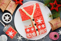 Ugly Christmas Sweater Cake , recipe for winter holiday party ,. Creative idea for Christmas New Year Xmas dessert food royalty free stock photo