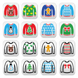 Ugly Christmas sweater on jumper buttons set. Vector button set of jumper with Xmas decoration isolated on white Royalty Free Stock Photography