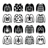 Ugly Christmas sweater on jumper icons set. Vector icon set of jumper with Xmas decoration isolated on white Stock Image