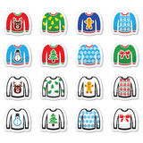 Ugly Christmas sweater on jumper icons set. Vector icon set of jumper with Xmas decoration isolated on white Royalty Free Stock Photo