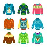 Ugly christmas sweater. Knitted jumpers with winter patterns, snowflakes and deer. Xmas funny cozy clothes. Isolated