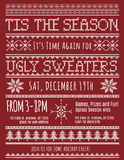 Ugly Christmas Sweater Party invitation. Template with knitted design effect vector illustration