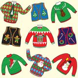 UGLY Christmas Sweaters Stock Photos
