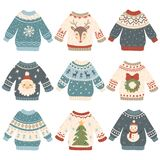 Ugly christmas sweaters. Cartoon cute wool jumper. Knitted winter holidays sweater with funny snowman, Santa and Xmas. Ugly christmas sweaters. Cartoon cute wool royalty free illustration
