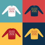 Ugly Christmas sweaters or jumpers with pixel deers icons set Royalty Free Stock Photos