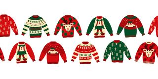 Ugly Christmas sweaters seamless vector border. Knitted winter jumpers with norwegian ornaments and decorations. Holiday design stock illustration