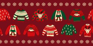 Ugly Christmas sweaters seamless vector border royalty free stock photo
