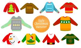 Ugly Christmas sweaters vector set royalty free illustration