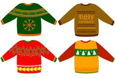 Ugly Christmas sweaters vector set stock illustration