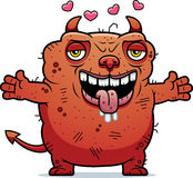 Ugly Devil Hug. A cartoon illustration of an ugly devil ready to give a hug Stock Images