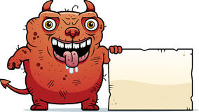Ugly Devil Sign. A cartoon illustration of an ugly devil with a sign Royalty Free Stock Images