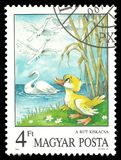 The Ugly Duckling by Andersen. Hungary - circa 1987: Stamp printed by Hungary, Color edition on topic of Fairy Tales, shows The Ugly Duckling by Andersen, Aesop` royalty free stock photography
