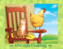 The ugly duckling 14: the cat and the hen Royalty Free Stock Photos