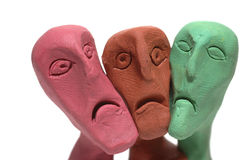 Ugly faces. Men whit  ugly faces made of plasticine Stock Photography