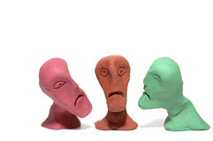 Ugly faces. Men whit  ugly faces made of plasticine Stock Photo