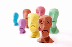 Ugly faces. Men whit  ugly faces made of plasticine Stock Images