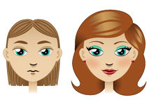 Ugly girl tranformed into pretty girl. Girl with new haircut and make-up stock illustration