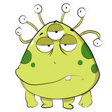 Ugly Green Alien. A scary Creature with big face and tentacle eyes Royalty Free Stock Images