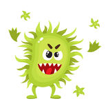 Ugly green virus, germ, bacteria character with human face. Cartoon vector illustration on white background. Scary bacteria, virus, germ monster with human royalty free illustration