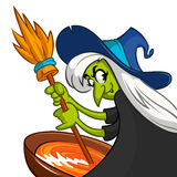 Ugly Halloween Witch Preparing A Potion. Vector illustration of a cartoon witch stirring her spooky brew  Royalty Free Stock Images