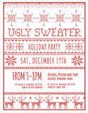 Ugly Holiday Sweater Party Invitation. Red and White Ugly Holiday Sweater Party invitation template stock illustration