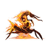 Ugly king of insect creatures in fire concept art on white background. Ugly king of insect creatures in fire concept Stock Images