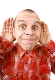 Ugly man acting silly isolated on white Royalty Free Stock Image