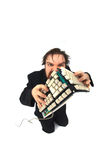Ugly man with broken keybord Stock Photos