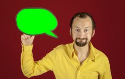 Ugly man speech balloon fine Royalty Free Stock Photography