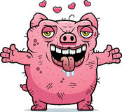 Ugly Pig Hug. A cartoon illustration of an ugly pig ready to give a hug Royalty Free Stock Image