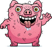 Ugly Pig Waving Royalty Free Stock Image