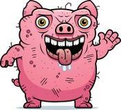 Ugly Pig Waving Royalty Free Stock Image