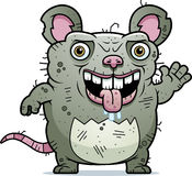 Ugly Rat Waving. A cartoon illustration of an ugly rat waving Royalty Free Stock Photos