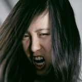Ugly scary asian woman monster shouting desperate Royalty Free Stock Photo