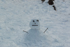 Ugly snowman be built from kid. Stock Image