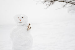 Ugly Snowman with Copy Space Royalty Free Stock Photography