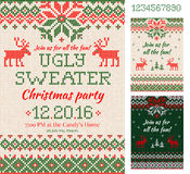 Ugly Sweater Christmas Party cards. Knitted pattern. Scandinavia vector illustration