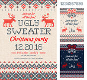 Ugly Sweater Christmas Party cards. Knitted pattern. Scandinavia Stock Images